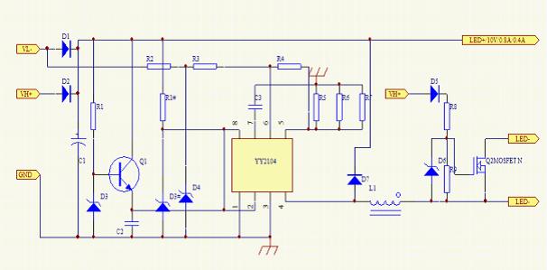 YY2104 内置MOS降压型大功率LED恒流驱动器 概述 YY2104 是一款高效率,降压型高亮度LED灯恒流驱动芯片。内置功率MOS管,尤其适合12~85V宽输入电压范围的LED驱动。 YY2104采用固定关断时间的峰值电流控制方式,其工作频率最高可达1MHz,可使外部电感和滤波电容体积减小,效率提高,节省PCB面积。可通过外部RC电容进行调节工作频率也可根据用户要求进行调节。在EN端加PWM信号,可调节LED灯的亮度。FB端可设定线性调光。 YY2104通过调节外置电流检测电阻的阻值来设置流过LED